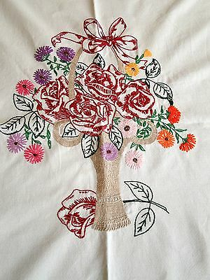 "VTG Shabby HAND EMBROIDERED Roses Floral Basket 53"" by 72 1/2"" Chic Retro"
