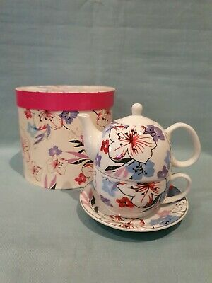 Lovely Tea For One Ceramic 3 Piece Colourful Floral Set Teapot Cup Saucer BNIB