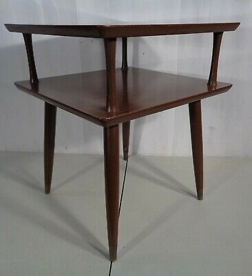 VTG Mid Century Modern 2 Tier End Side Accent Table Laminate Top Retro 1960's
