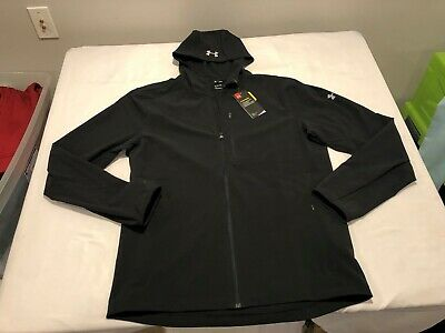 NWT $100.00 Under Armour Mens CG Outrun the Storm Running Jacket Black Size XL