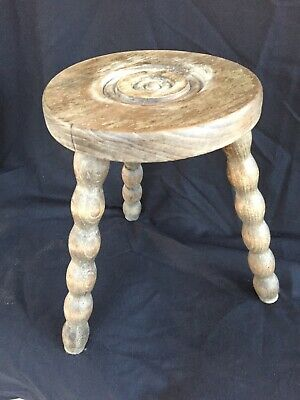 Vintage French Wooden Milking Stool 3 Turned Bobbin Legs Bulls Eye Seat Rustic