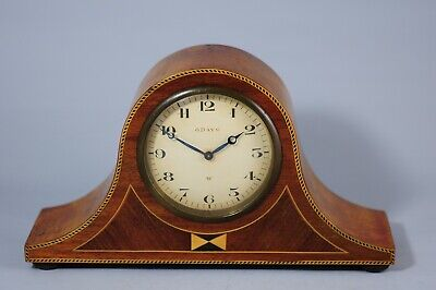 Art Deco Mantle Clock Marquetry Wooden Case 8 Day Swiss Movement Working