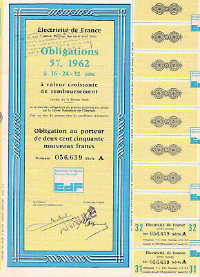 ELECTRICITE DE FRANCE / Obligations 5% 1962