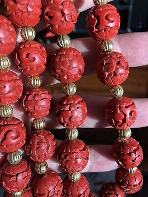 Fine Antique Chinese Red Cinnabar Lacquer Bead Necklace Deep Hand Carved 17""