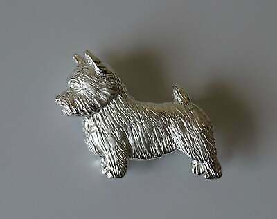 Large Sterling Silver Norwich Terrier Standing Study Brooch
