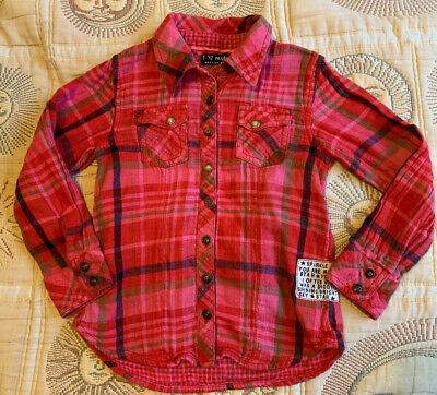 Next Girls Age 6 Years Long Sleeve Check Shirt Red Pink