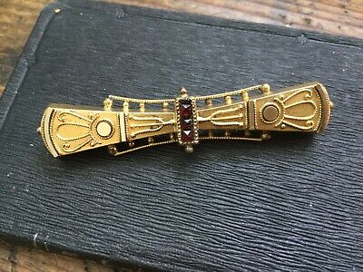 Antique Victorian Etruscan Revival Gold Filled Bar Pin~Brooch with Garnets