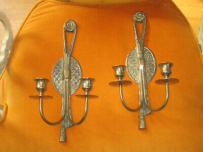 Vtg Sconces Pair Of 2 Solid Brass  Double Arm Wall Taper Candle Holder Ornate