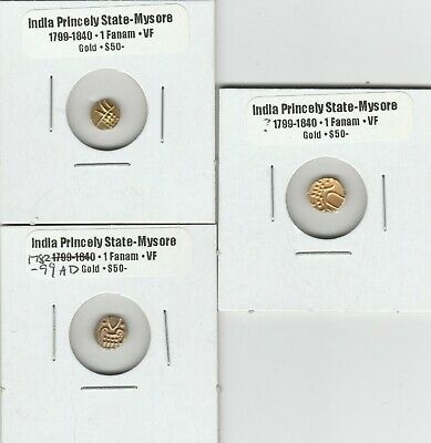 Three India Princely States Gold Coins