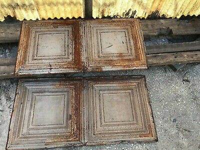 "Two 24"" X 48"" Antigue / Vintage Tin Ceiling Tile Framed Design"