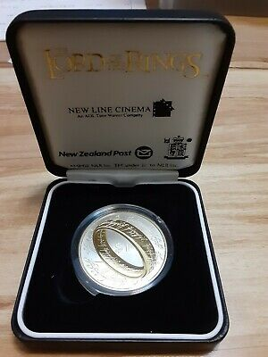 2003 Lord Of The Rings = New Zealand Post Silver Proof Dollar With C.o.a,
