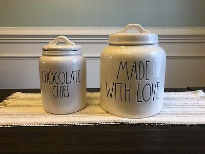 New Rae Dunn Magenta Chocolate Chips Canister and Made With Love Canister