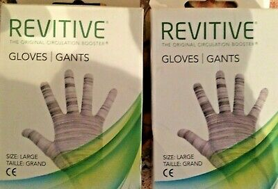 Revitive Circulation Booster Gloves 2x pairs EMS Reusable Washable Gloves LARGE