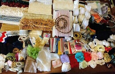 HUGE Lot of Lace, Trim, Cording, Ribbon for Dress Making, Upholstery & Crafts
