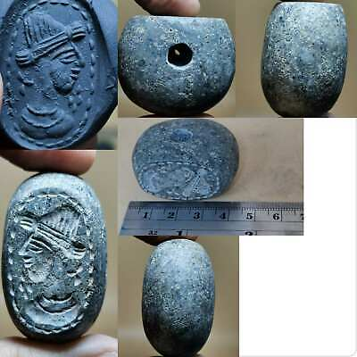 Roman Ancient Emperor King Face Seal intaglio Stone Stamp BEAD # 132