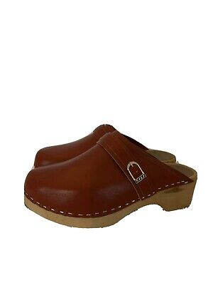 1970s Vintage WOOD CLOGS Olof Daughters Leather Shoes Boho Hippy 39  8 US