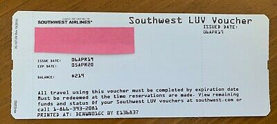 Southwest LUV Voucher - $219.00