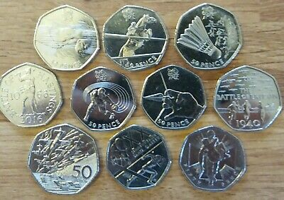 10 x RARE JOBLOT 50p Coins. 5 x OLYMPIC, D Day Landings 1994, see list below