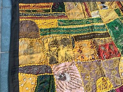 Antique Vintage Bohemian Gypsy Hand Embroidered Indian Quilt Panel Hanging