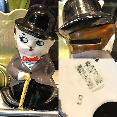 Tirelire Charlie Chaplin Porcelaine Céramique Faïence Savings Piggy Bank Funny