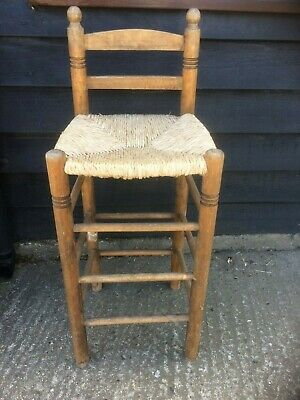 Vintage Wooden High Stool With Woven Sea Grass Seat