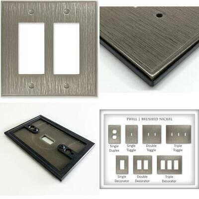 Double Decorator Brushed Nickel Twill Cast Metal Wall Plate   Switch Plate Outle