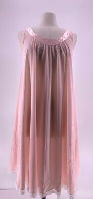 Vintage Lucie Ann Womens A Line Nightie Pink Embroidered Lace Trim 100% Nylon M