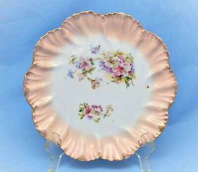 Antique Hand Painted German Scalloped Salad Plate Floral Gold