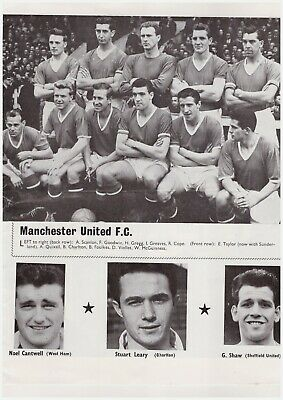 Team Pic from 1959 Football Annual - MANCHESTER UNITED + REAL MADRID
