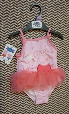 Bnwt Girls Peppa Pig Pink Tutu Swimming Costume 6-9 Months