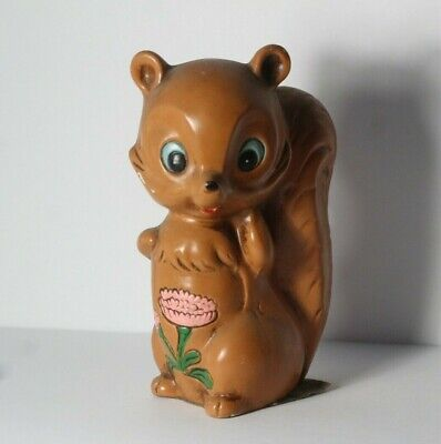 Vintage Norleans Japanese Ceramic Cartoon Character Squirrel Floral Bouquet Bank