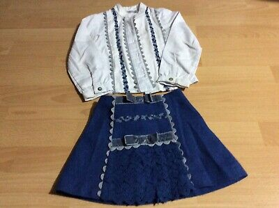 Kids girls Miranda Spanish outfit  skirt and blouse size age 4