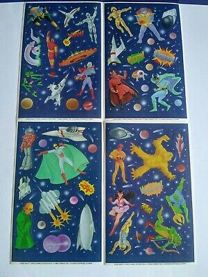 Lot of 4 sticker sheets Space Heros Monsters Current inc 1986