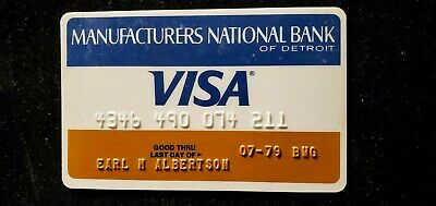 MANUFACTURES NATIONAL BANK DETROIT Visa credit card exp 1979♡Free Shipping♡cc686