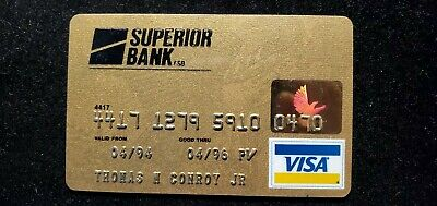 Superior Bank Gold Visa credit card exp 1996♡Free Shipping♡cc684