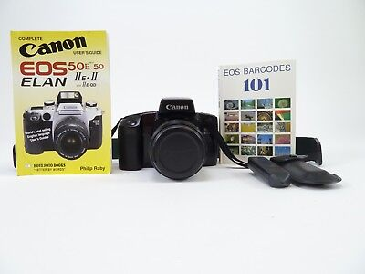 Canon EOS Elan with 28-80mm f3.5 - 5.6 lens includes cap, bar code reader, books