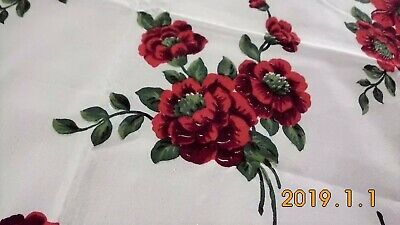 Vintage Red Poppy Tablecloth- Wilendur