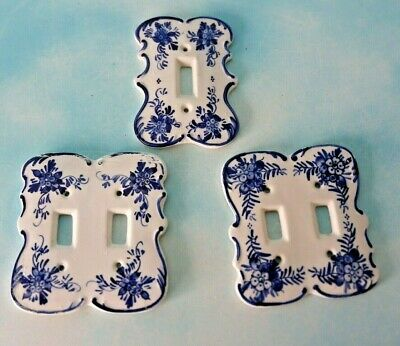 Set Of 3 Light Wall Switch Plate Covers White & Blue Ceramic Floral Design