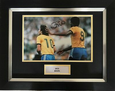 Zico Hand Signed Brazil Autograph Framed Photo Display.