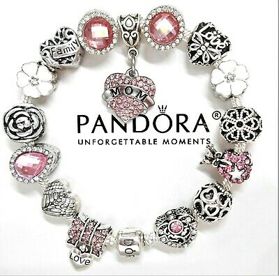 New Authentic Pandora Silver Bracelet Pink Mom Family Love Heart European Charms