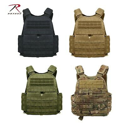 "Rothco Modular Molle Plate Carrier Regular & 2XL Front & Black 10""x12"" plates"