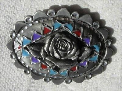 A USA Pewter Buckle  1996 GAP 4288 Single Rose