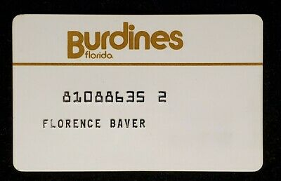 Burdines Florida charge card♡Free Shipping♡cc1052♡