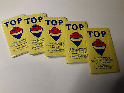 5 Packs TOP Cigarette Papers 5 Booklets TOP 100 Gummed Fine Cigarette Papers