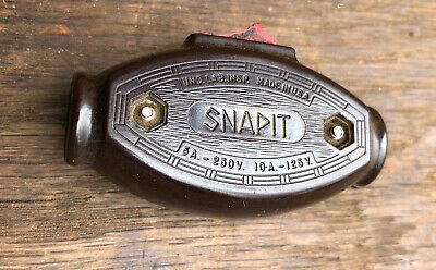Vintage SnapIt Dark Brown Inline Feed Thru Cord Switch On/Off