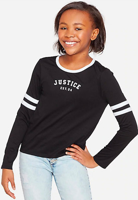 Justice Set Girls Size 12 Black White Long Sleeve Football Top Nwt
