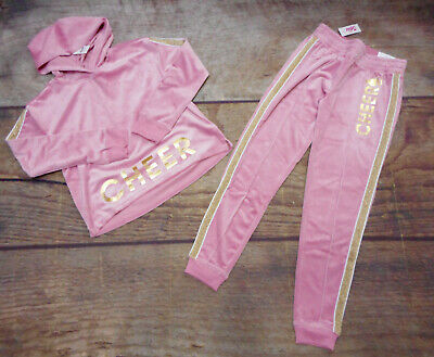 Justice Girls Size 12 Pink Cheer Velour Matching Top And Leggings New With Tags