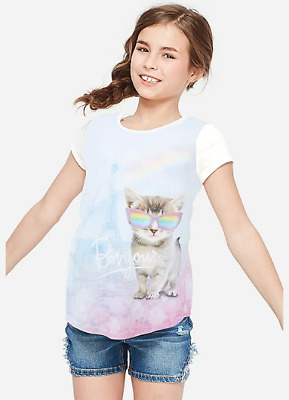 Justice Girls Size 12 Rainbow Cat Graphic Top New With Tags