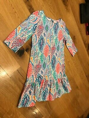 EUC Lilly pulitzer girls knit coral multi color blue green print dress 12 14 XL