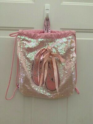 Ballet Dance Drawstring Bag Sparkly Sequin Pink Claire's Club